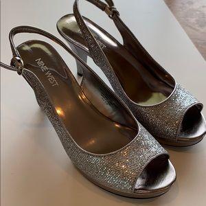 Nine West peep toe platform Silver heels